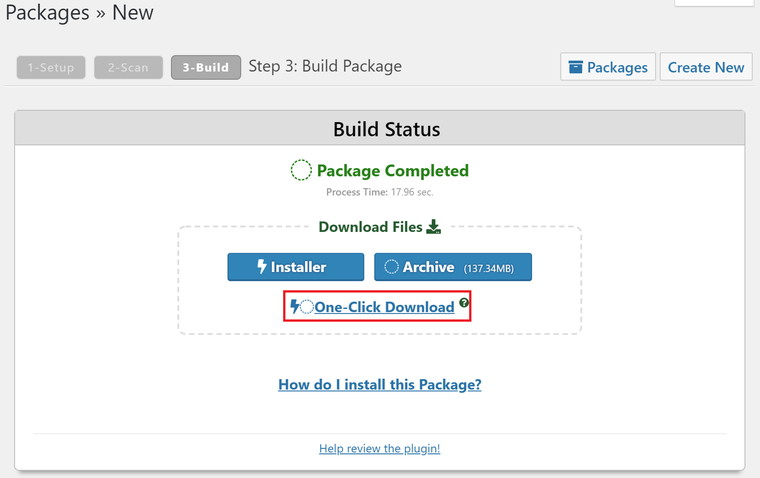 One Click Downloadをクリック