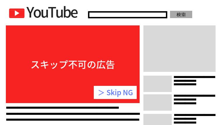 YouTubeスキップ不可の広告