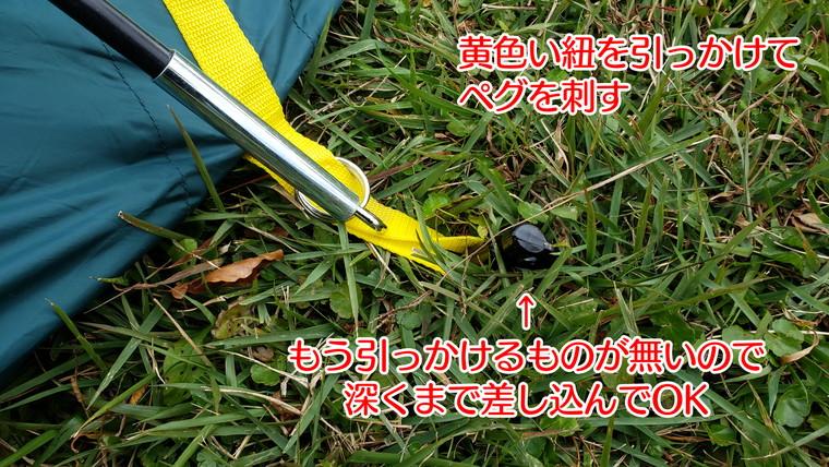 黄色い紐をペグで固定する